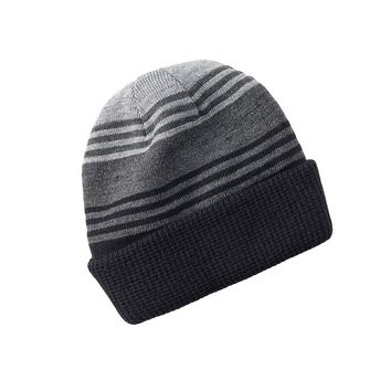 Apt. 9 Striped & Solid Reversible Cuffed Beanie - Men, Size: One Size (Black)
