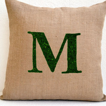 Personalized Sequin Monogram decorative pillow- Sequin Throw pillows - Burlap pillow cover - Customized Cushion cover 16X16