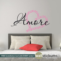 Amore Infinity Heart Wall Decal Vinyl Wall Art Decal Sticker Wall Decor Valentines Day Gifts Romance Wedding Gifts Anniversary Gifts-WD0343