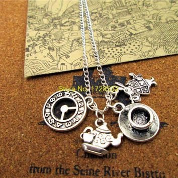 Fashion Alice in Wonderland  necklace  Teapot with teacup Clock rabbit  Charm Pendant  necklace