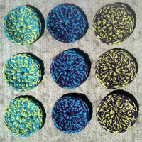 Cotton Scrubbie Sponges - Set of 9 - Washable Eco Friendly - MADE TO ORDER