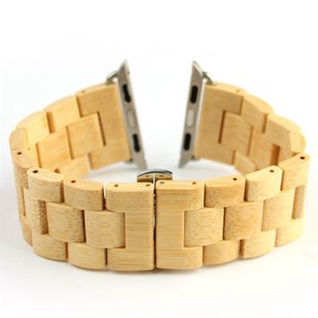 100% New Retro Natural Bamboo Watchbands Wood Watch strap 1:1 For iWatch Wooden band with Adaptor For Apple Watch Band 38mm 42mm