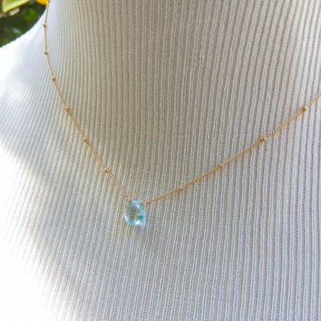 Blue Topaz December Birthstone Dainty Pendant Satellite Gold Filled Chain Necklace