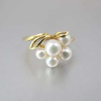 Vintage Gold Pearl Ring. Mikimoto Akoya Pearl Cluster Ring. 18K Yellow Gold Cultured Pearl Statement Ring. June Birthstone Ring.