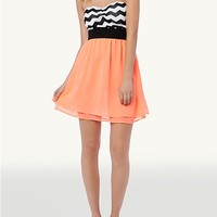 Chevron Color Block Tube Dress