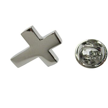 Silver Toned Thick Classic Religious Cross Lapel Pin