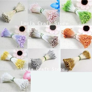 288pcs 18colors options double tips headers 1mm matte pearl flower stamen cake decoration 11020104(288)