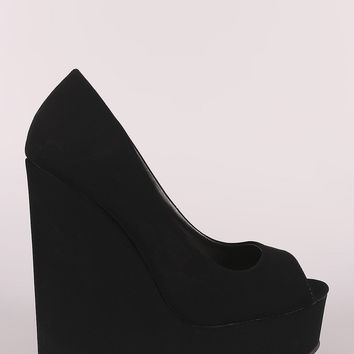 Peep Toe Nubuck Platform Wedge