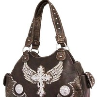 Angel Wings w/ Cross Brown Handbag