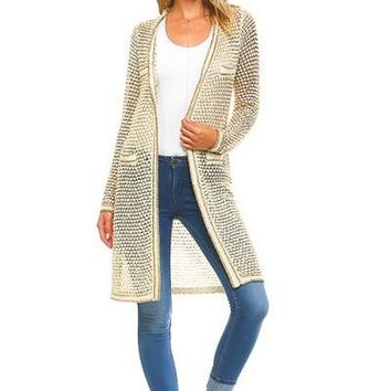 See Me Gold Lined Cardigan
