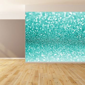Sparkle Blue Glitter Custom Wallpaper Peel and Stick