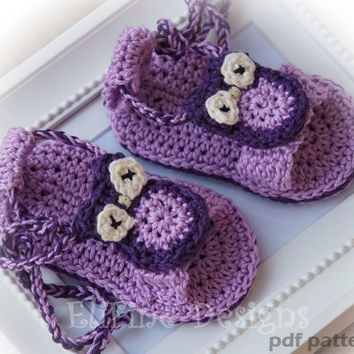 Crochet pattern, crochet owl sandals, crochet for baby, crochet shoes, patterns, baby pattern,diy, pattern, owl pattern,beach,summer pattern