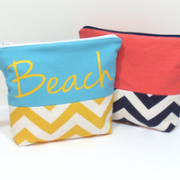 Travel Cosmetic Bag, Chevron Zipper Bag, Toiletry Bag, Bridesmaid Bag, Beach Travel Bag, Bag with Zipper, Makeup Bag, Make Up Pouch