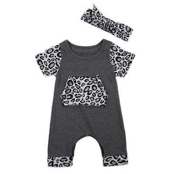 2Pcs Baby Clothing Newborn Baby Girl Short Sleeve Cotton Leopard Romper Jumpsuit +Headband Baby Clothes Outfits