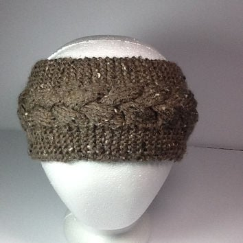 Cable Knit Headband, barley brown ear warmers, optional fleece lining,  wide knitted  wrap, winter headband, acrylic ear warmer