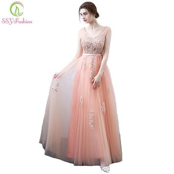New Sweet Peach Color Elegant Evening Dress The Bride Banquet V-neck Lace Flower Beading Long Party Prom Formal Gown