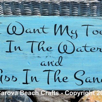 Beach Sign - Beach Decor -  Toes In Water -  Wood Sign, Ocean Colors, Coastal, Nautical, Hanging Sign, Beach, Wood, Reclaimed, Sand