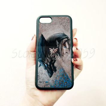 Wolf twilight princess cartoon soft edge phone case for iphone 5c 5s 6 6s 6plus 6splus 7 7plus black silicone cover case