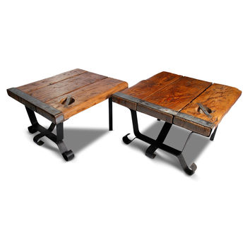 Pair WWII Ship Hatch End Tables