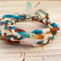 Hippie Wrap Boho Tie On Bracelet Necklace, Friendship Bracelet, Wishing Surfer Hippie Wraps, Woven Braided Cord, Ribbon FREE US Shipping