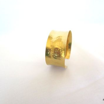 Gold Anticlastic Cuff with Hammered Texture