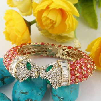 Bella Fashion Red Enamel Panther Leopard Kiss Bracelets & Bangles Austrian Crystal Animal Bangle Cuff For Women Party Jewelry