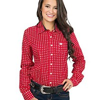 Cinch Women's Red with White Diamond Print Long Sleeve Western Shirt