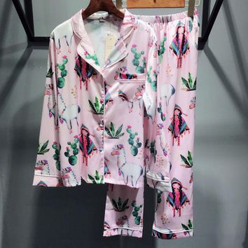 Victoria's Secret Women Silk Satin Print Pattern Robe Sleepwear Loungewear Set Two-Piece