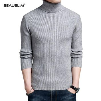 Seauslim High-grade Fashion Turtleneck Sweater Men Knitted Sweater High Elastic Mens Sweaters And Pullover LQ-NB-01