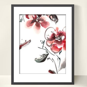 Abstract Flowers Watercolor Painting Art Print, Floral Modern Abstract Wall Art, Watercolor Art