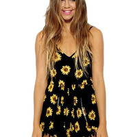 Black Romper with Sunflower Print