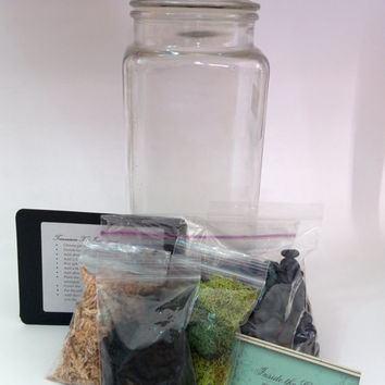DIY Recycled Glass Container Miniature Plant Fairy Garden Terrarium Kit in Small, Medium or Large