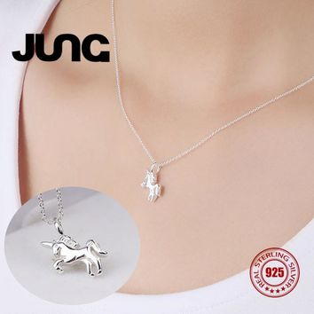Sweet Horse 925 Sterling Silver Moon Necklaces
