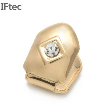 Sigle Teeth Big Size Iced Out Grillz With Luxury Box Package Hip Hop Jewelry 24k Gold Silver Rose Black Colors High Quality