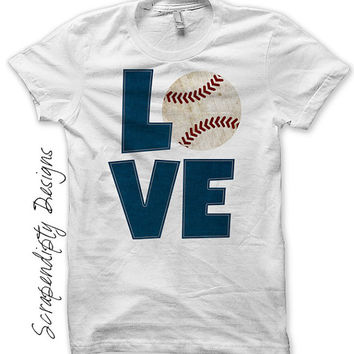 Baseball Iron on Transfer - Iron on Baseball Love Shirt PDF / Kids Boys Sports Tshirt / Customized T-Ball Shirt / Womens Mom Tee IT357-C