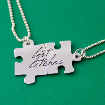 Best B*tches Puzzle Piece Necklace Set - Hand Stamped Friendship Necklaces - Mature