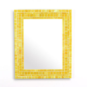 Yellow Mosaic Mirror, Decorative Bathroom Wall Mirror in Stained Glass Tiles, Various Sizes