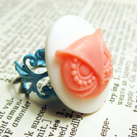 Owl cameo ring pink and white adjustable mint by InsomniaStudios