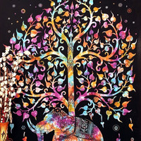 Shopnelo Tree of Life Psychedelic Wall Hanging Elephant Tapestry, Multi/Black