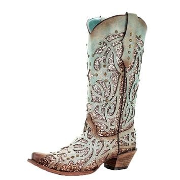 Corral Mint Glitter Inlay & Studs Fashion Western Boots