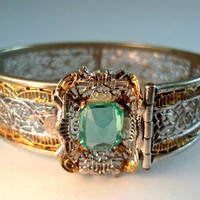 Pierced Filigree Hinged J.J. WHITE Bracelet, Aqua Glass Stone, Art Deco 1920's Antique