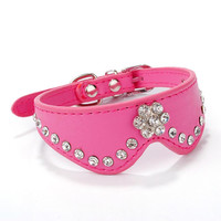 2016 Dog Collars Buckle Necklace Leather Pet Puppy Dog Cat Collar Rhinestone Collar Pet Supplies Dog Products