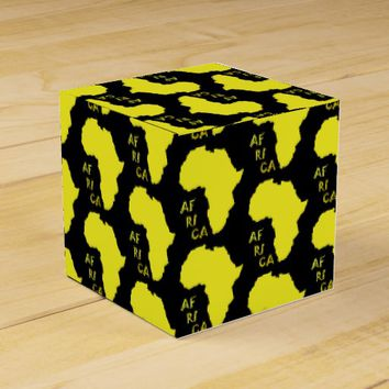 Yellow Africa Map Pattern Paper Favor Gift Box