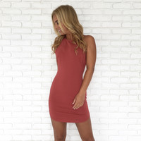 Full Control Bodycon Dress In Rust