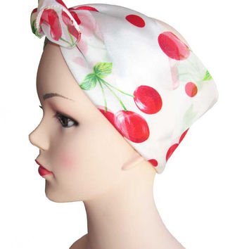White Red Cherry Retro Chiffon Scarves