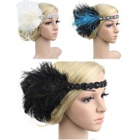 1920s Feather Flapper Headband Headdress Party Queen Hair Rope Model Photograh
