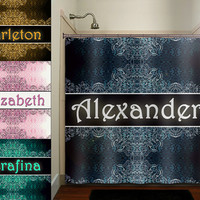 regal personalized Any Name royal vintage shower curtain bathroom decor fabric kids bath white black custom duvet cover rug mat window