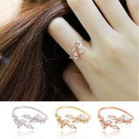 Gift Shiny New Arrival Jewelry 925 Silver Stylish Leaf Korean Accessory Ring [8380559815]
