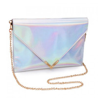 Silver Hologram Holographic Envelope Clutch