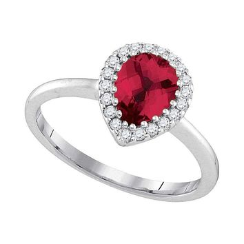 14kt White Gold Women's Pear Natural Ruby Solitaire Diamond Halo Bridal Ring 1/6 Cttw - FREE Shipping (US/CAN)